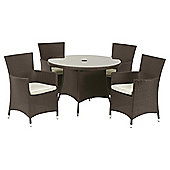 Royalcraft Cannes 110cm Round Dining Set & Carver 4 seater - Brown