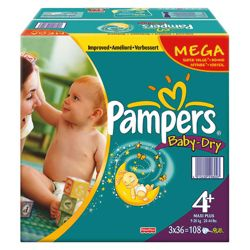 Pampers Baby Dry Mega Pack Maxi Plus 104 size 4 +