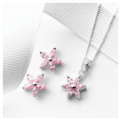 Sterling Silver Pink Cubic Zirconia Flower Earring And Pendant Set