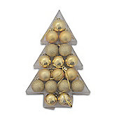Assortment of 17 Festive Bauble Decorations in Christmas Tree Shaped Box - Gold