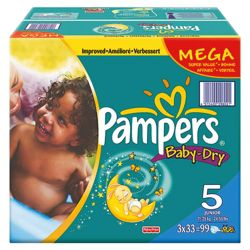 Pampers Baby Dry Mega Pack Junior 96 size 5