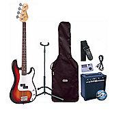 Encore E4 Sunburst Bass Guitar Pack