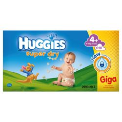 Huggies Super-Dry GIGA Pack Size 4+ (x 148)