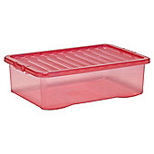 Tesco 32 Litre Plastic Underbed Storage Box with Lid, Pink