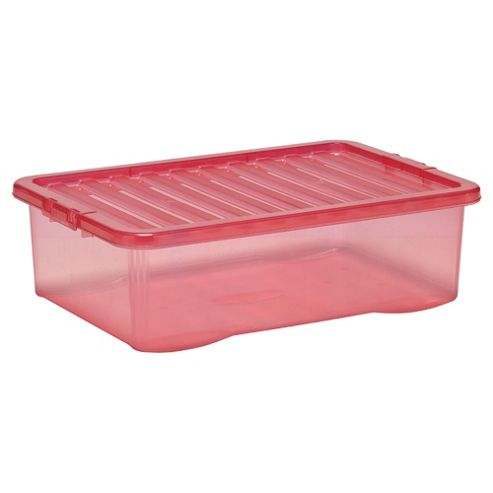Tesco Crystal 32L Underbed Storage Box With Lid, Pink