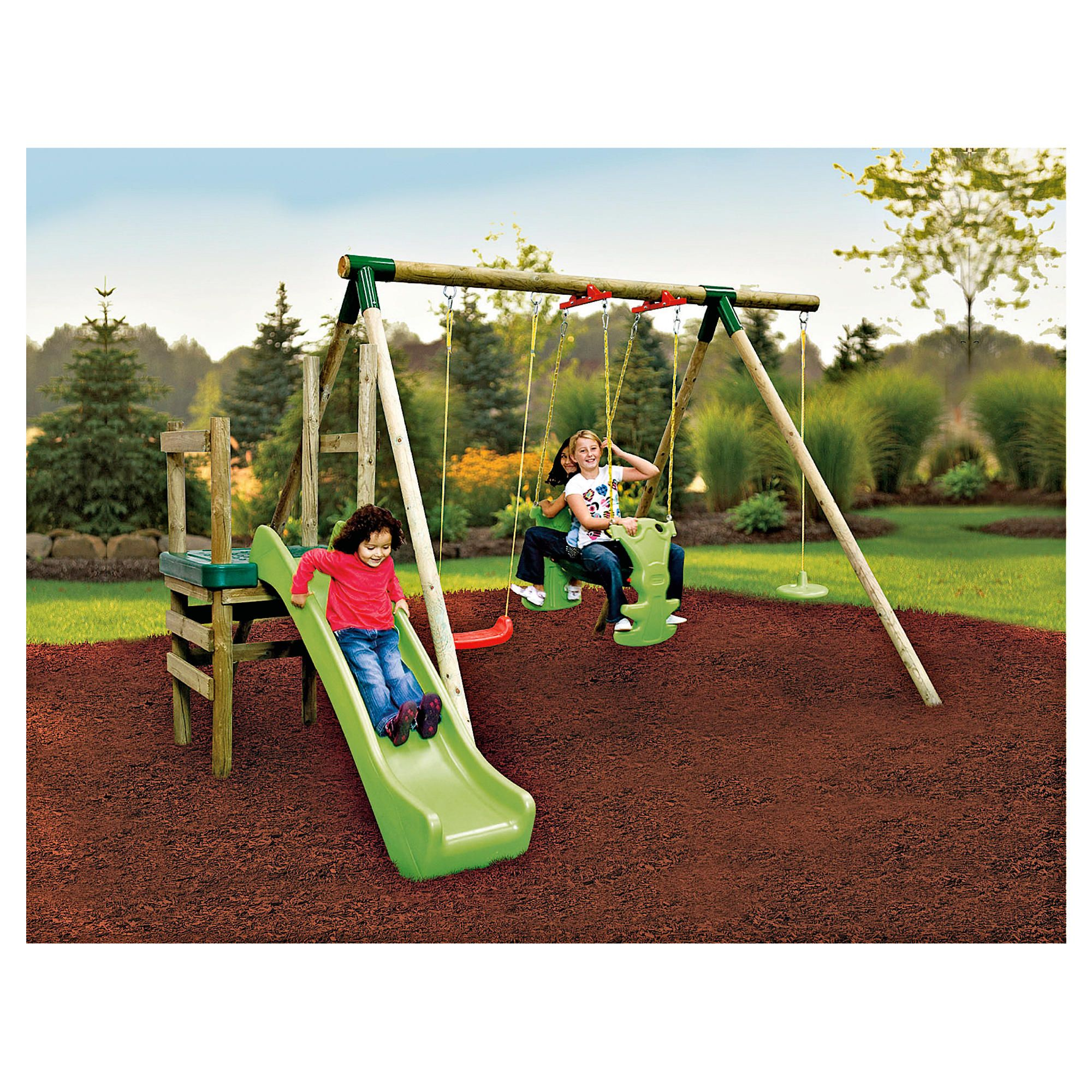 Little Tikes Strasbourg Wooden Slide 'n' Swing Set at Tesco Direct