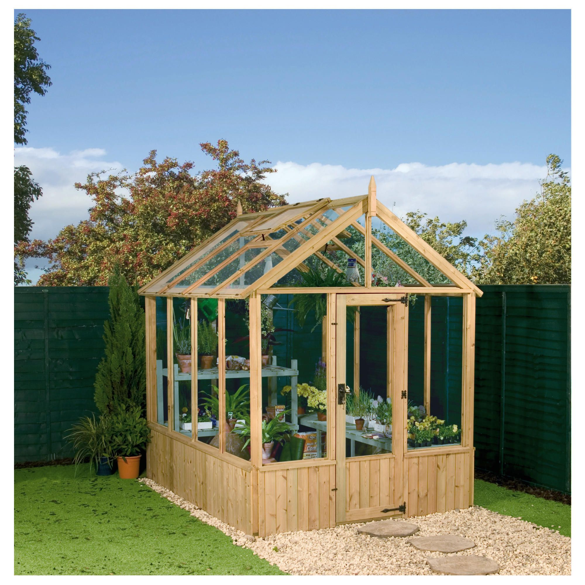 Mercia 8 X 6 Pressure Treated Greenhouse at Tescos Direct