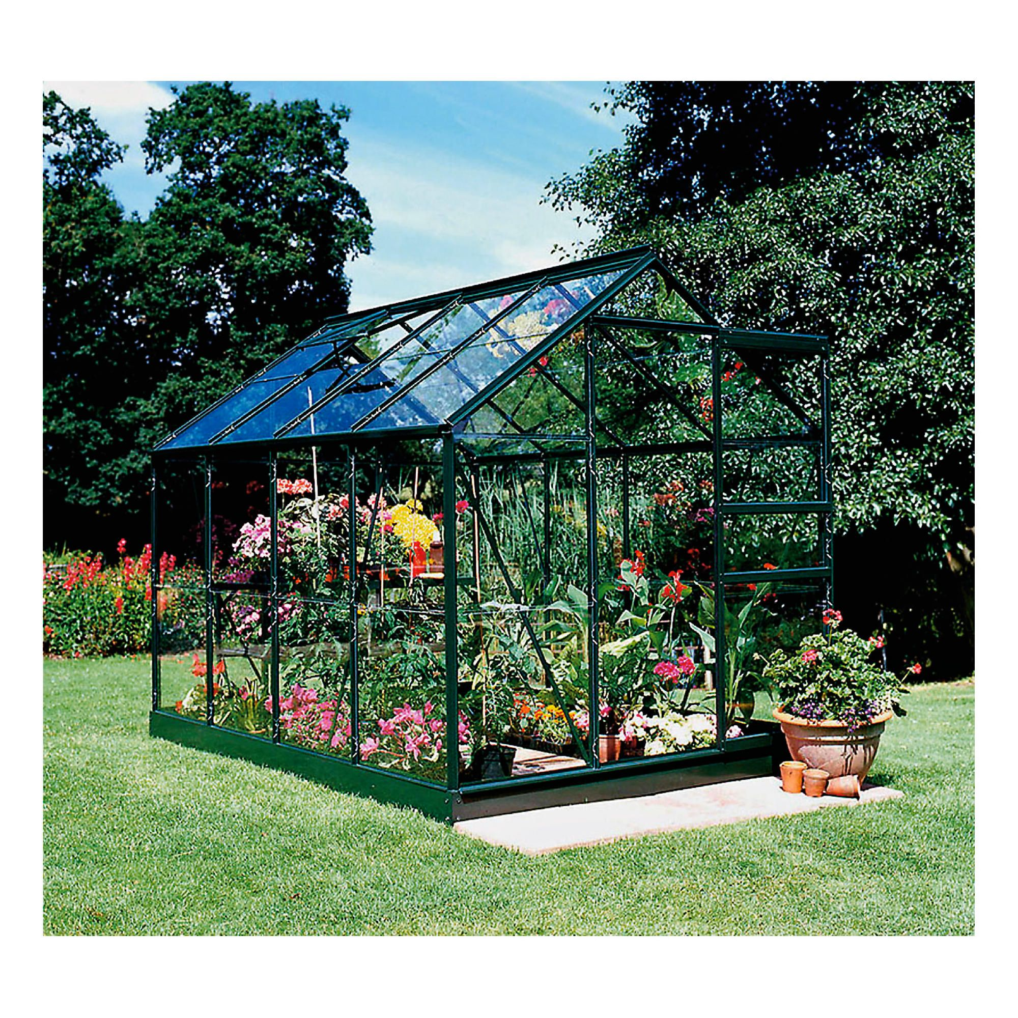 Halls 8x6 Popular Greenframe Greenhouse + Base - Toughened Glass at Tesco Direct