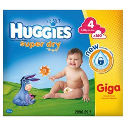 Huggies Super- Dry Giga Box Size 4 (x160)