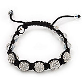 Unisex Swarovski Clear Crystal Balls Shamballa Bracelet - 11mm - Adjustable