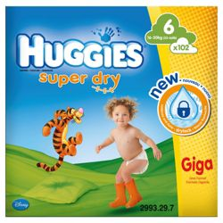 Huggies Super Dry GIGA Pack Size 6 102
