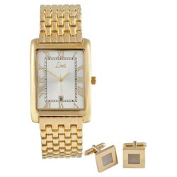 Limit Men's Gold Watch and Cufflink Set