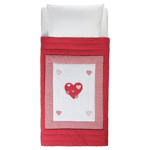 Tesco Kids Gingham Hearts Quilt, Red