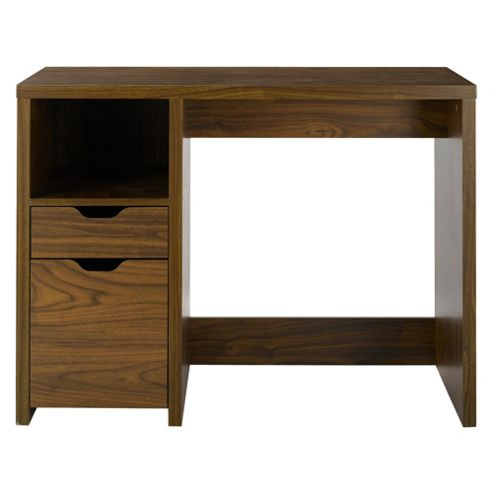 Seattle Straight 2 Drawer Desk, Walnut
