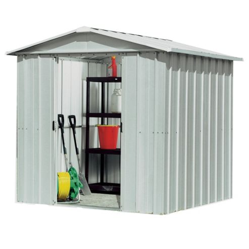 Buy yardmaster silver metal apex shed from our metal sheds for Garden shed tesco