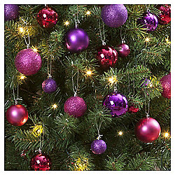 Christmas Baubles, Pink and Purple, 40 pack