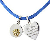 Sterling Silver and 9ct Gold Message Pendant with Cubic Zirconia Set into Charm, complete with Vibrant Blue Cord.