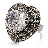 Clear CZ Heart Cocktail Ring (Silver Tone)