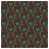 Arthouse Mia Motif Chocolate/Teal Wallpaper