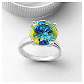Sterling Silver Ab Cubic Zirconia Ring, Small.