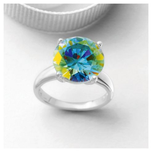 Sterling Silver Ab Cubic Zirconia Ring, Small