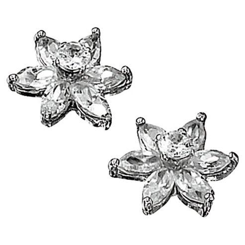 9ct White Gold Cubic Zirconia Flower Stud Earrings