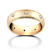 Jewelco London 9ct Yellow Gold 6mm Court Mill-Grain Diamond set 40pts Eternity Wedding / Commitment Ring