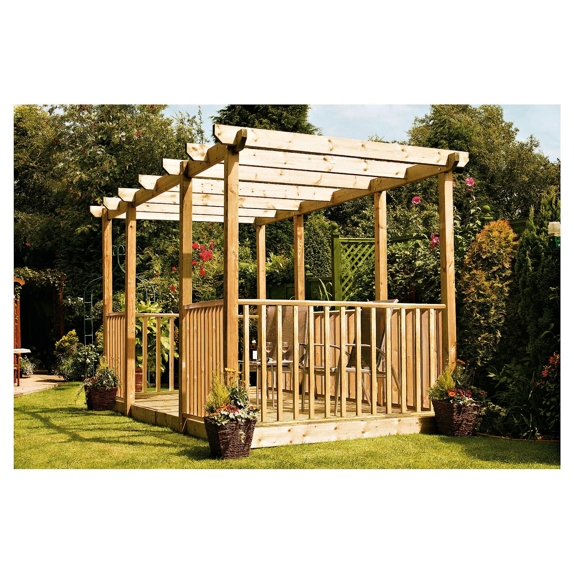 Finnlife Double Deck with Double Pergola & Balustrade at Tescos Direct