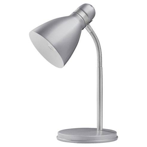 Tesco Lighting Metal Desk Lamp Silver