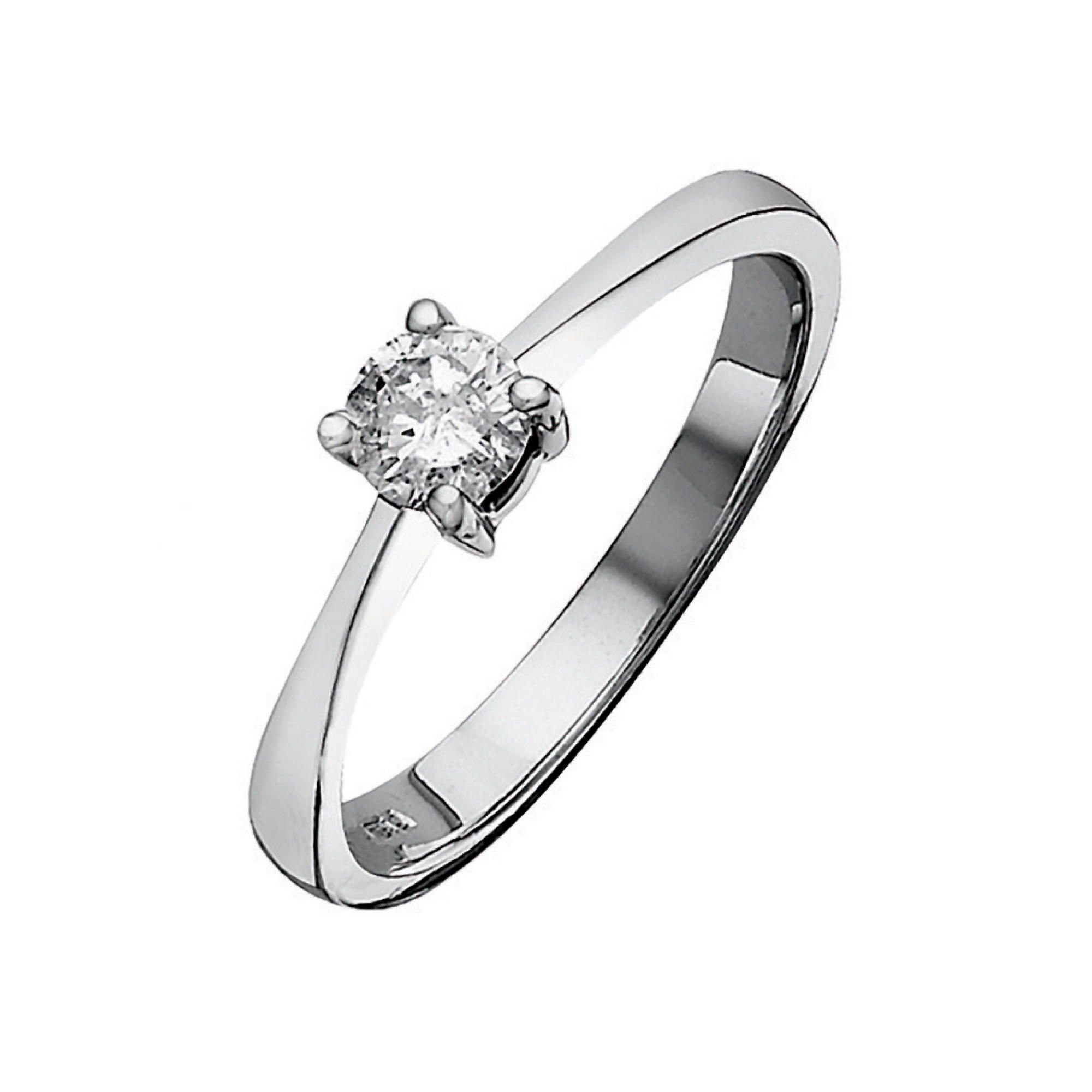 9ct White Gold 50Pt Diamond Solitaire Ring, P at Tesco Direct