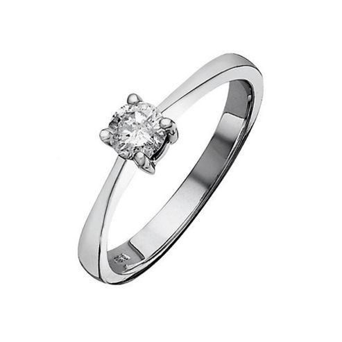 9ct White Gold 50Pt Diamond Solitaire Ring, P