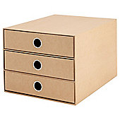 Tesco Card 3 Drawer Desk Organiser, Tan