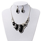 Black Enamel Geometric Necklace & Drop Earrings Set In Rhodium Plated Metal - 38cm Length (7cm extender)