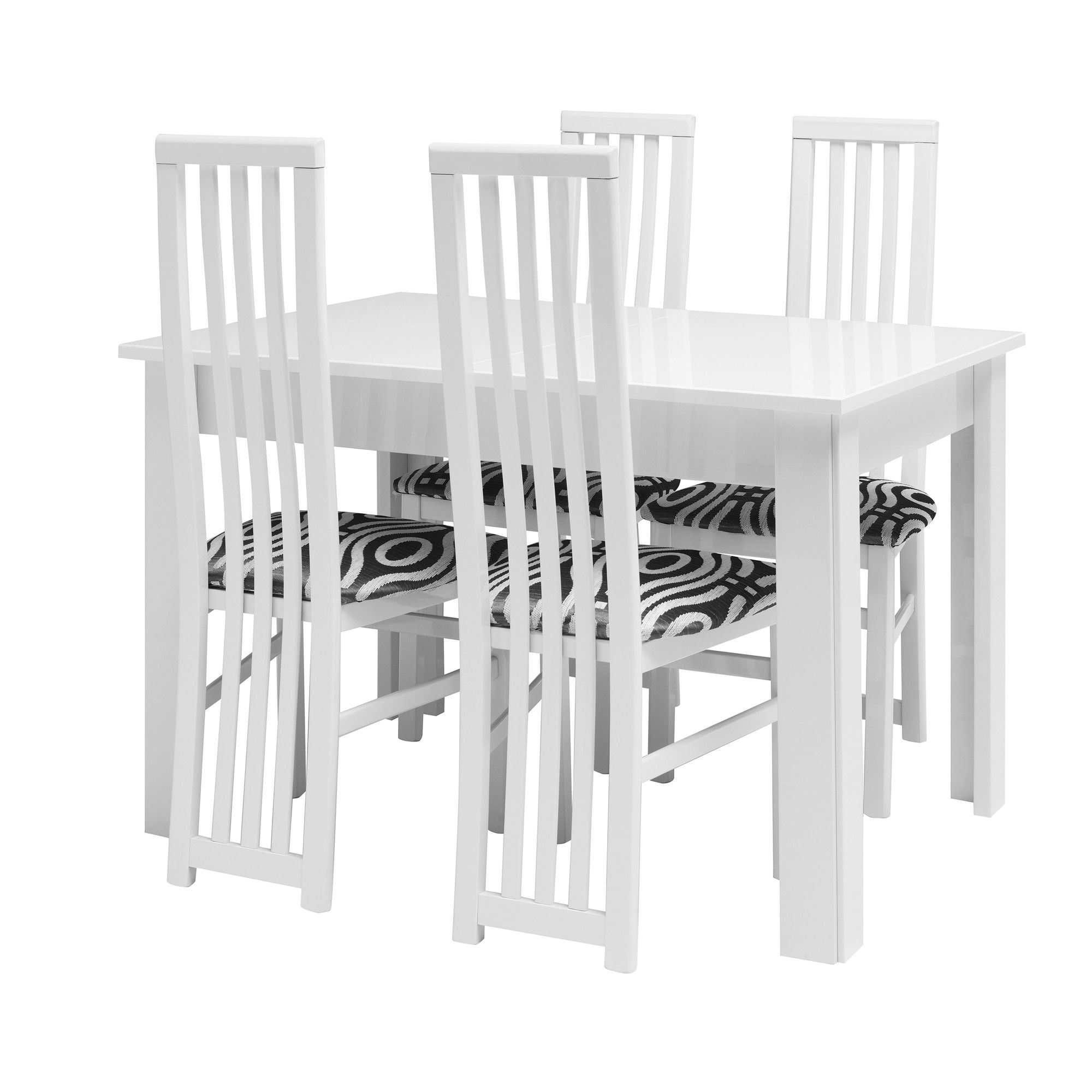 Caxton Manhattan Table with 6 Dining Chairs in White Gloss at Tesco Direct