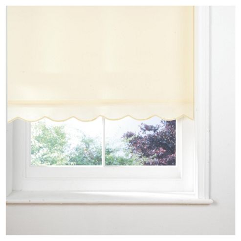 Scalloped Edge Roller Blind, Cream 90Cm