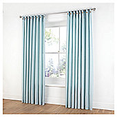 "Tesco Plain Canvas Unlined Belt Top Curtains W117xL137cm (46x54""), Duck Egg"