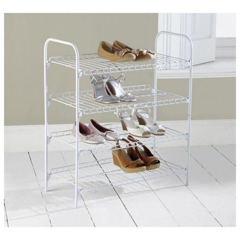 buy 4 tier white shoe rack from our shoe racks storage. Black Bedroom Furniture Sets. Home Design Ideas