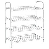 4 Tier White Shoe Rack