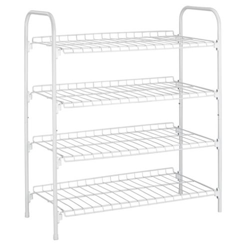 Tesco Metal 4 Shelf Shoe Rack, White