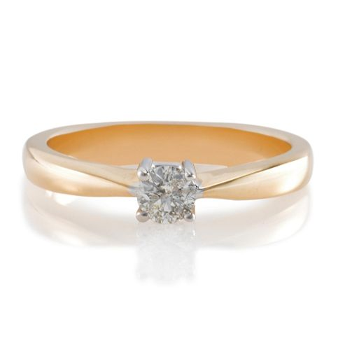 9ct Gold 25Pt Diamond Solitaire Ring, L