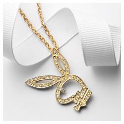 Playboy Gold Tone Crystal Encrusted Cut Out Pendant