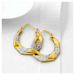 9ct Gold Crystal Encrusted Hexagonal Hoops