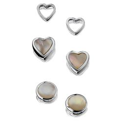 Sterling Silver Mother Of Pearl 3 Stud Set