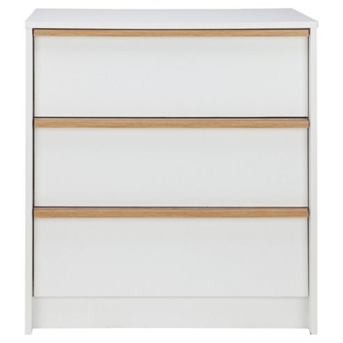 Trenton 3 Drawer Chest, White/Oak