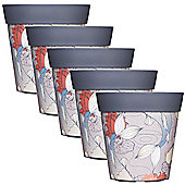 5 x 22cm Grey Ink Fish Plastic Garden Planter 5L Flowerpot by Hum