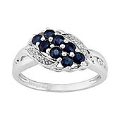 Gemondo Sterling Silver 0.74ct Natural Blue Sapphire & Diamond Contemporary Style Ring
