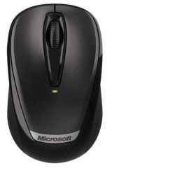 Microsoft 3000 Mouse - Optical - Wireless - 3 Button(s) - Black - Radio Frequency - USB - 1000 dpi - Scroll Wheel