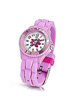 Jo For Girls Flower Dial Pink Silicon Strap Watch