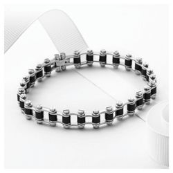 Stainless Steel and Rubber Bike Chain Bracelet