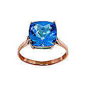QP Jewellers 3.60ct Blue Topaz Rococo Cushion Ring in 14K Rose Gold